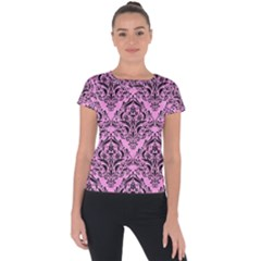 Damask1 Black Marble & Pink Colored Pencil Short Sleeve Sports Top