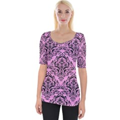 Damask1 Black Marble & Pink Colored Pencil Wide Neckline Tee