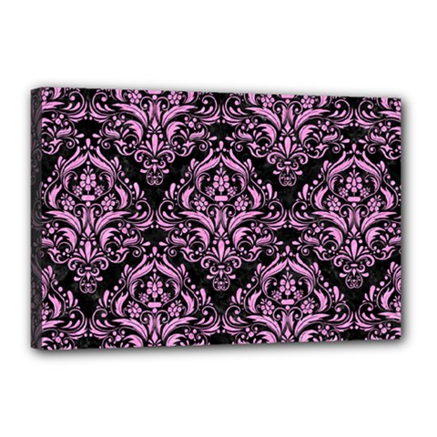 Damask1 Black Marble & Pink Colored Pencil (r) Canvas 18  X 12