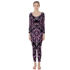 Damask1 Black Marble & Pink Colored Pencil (r) Long Sleeve Catsuit