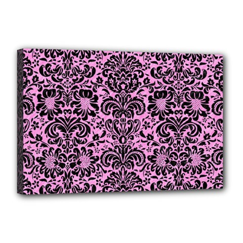 Damask2 Black Marble & Pink Colored Pencil Canvas 18  X 12