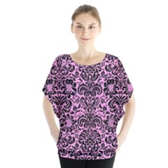 Damask2 Black Marble & Pink Colored Pencil Blouse