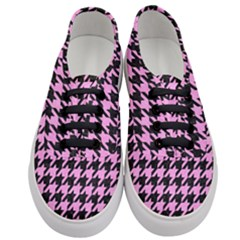 Houndstooth1 Black Marble & Pink Colored Pencil Women s Classic Low Top Sneakers