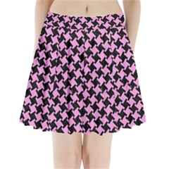 Houndstooth2 Black Marble & Pink Colored Pencil Pleated Mini Skirt