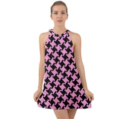 Houndstooth2 Black Marble & Pink Colored Pencil Halter Tie Back Chiffon Dress