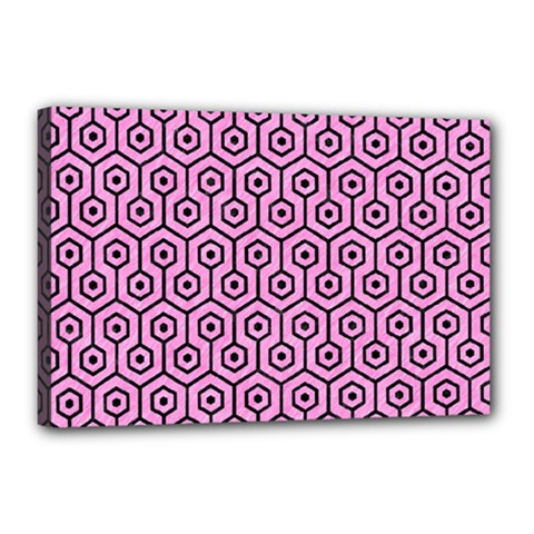 Hexagon1 Black Marble & Pink Colored Pencil Canvas 18  X 12