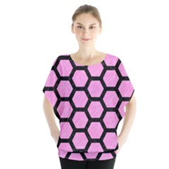Hexagon2 Black Marble & Pink Colored Pencil Blouse
