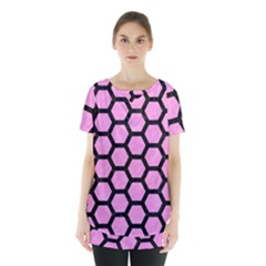 Hexagon2 Black Marble & Pink Colored Pencil Skirt Hem Sports Top