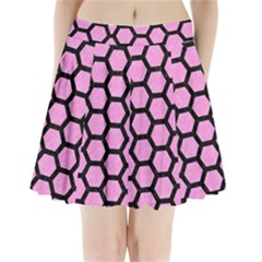 Hexagon2 Black Marble & Pink Colored Pencil Pleated Mini Skirt