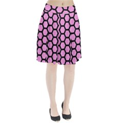 Hexagon2 Black Marble & Pink Colored Pencil Pleated Skirt