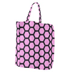 Hexagon2 Black Marble & Pink Colored Pencil Giant Grocery Zipper Tote
