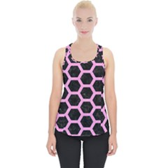 Hexagon2 Black Marble & Pink Colored Pencil (r) Piece Up Tank Top