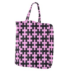 Puzzle1 Black Marble & Pink Colored Pencil Giant Grocery Zipper Tote