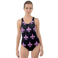 Royal1 Black Marble & Pink Colored Pencil Cut Out Back One Piece Swimsuit