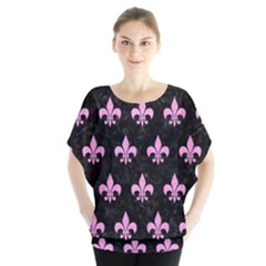 Royal1 Black Marble & Pink Colored Pencil Blouse