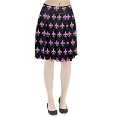 Royal1 Black Marble & Pink Colored Pencil Pleated Skirt
