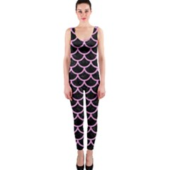 Scales1 Black Marble & Pink Colored Pencil (r) Onepiece Catsuit