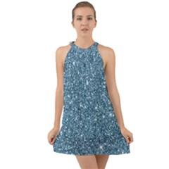 New Sparkling Glitter Print F Halter Tie Back Chiffon Dress