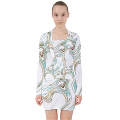 Abstract Marble 1 V Neck Bodycon Long Sleeve Dress