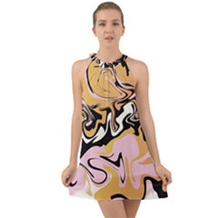 Abstract Marble 9 Halter Tie Back Chiffon Dress