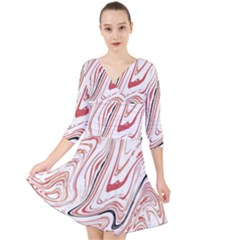 Abstract Marble 13 Quarter Sleeve Front Wrap Dress