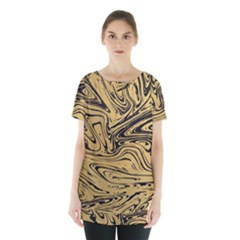 Abstract Marble 16 Skirt Hem Sports Top