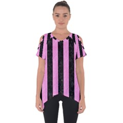 Stripes1 Black Marble & Pink Colored Pencil Cut Out Side Drop Tee