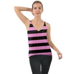 Stripes2 Black Marble & Pink Colored Pencil Cami
