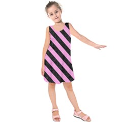 Stripes3 Black Marble & Pink Colored Pencil Kids  Sleeveless Dress
