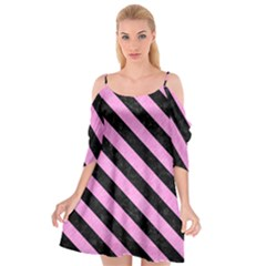 Stripes3 Black Marble & Pink Colored Pencil Cutout Spaghetti Strap Chiffon Dress