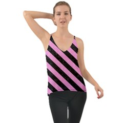 Stripes3 Black Marble & Pink Colored Pencil Cami