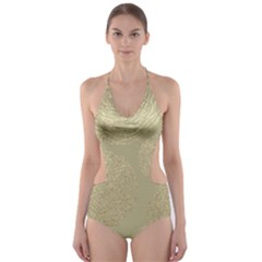 Modern, Gold,polka Dots, Metallic,elegant,chic,hand Painted, Beautiful,contemporary,deocrative,decor Cut Out One Piece Swimsuit