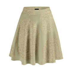 Modern, Gold,polka Dots, Metallic,elegant,chic,hand Painted, Beautiful,contemporary,deocrative,decor High Waist Skirt