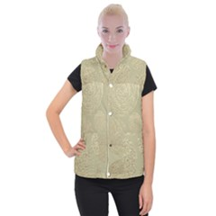 Modern, Gold,polka Dots, Metallic,elegant,chic,hand Painted, Beautiful,contemporary,deocrative,decor Women s Button Up Puffer Vest