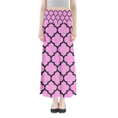 Tile1 Black Marble & Pink Colored Pencil Full Length Maxi Skirt