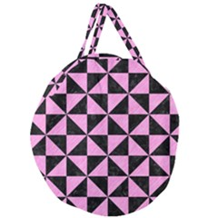 Triangle1 Black Marble & Pink Colored Pencil Giant Round Zipper Tote