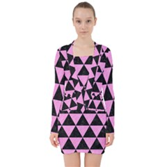 Triangle3 Black Marble & Pink Colored Pencil V Neck Bodycon Long Sleeve Dress