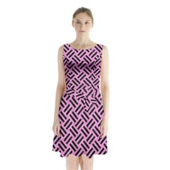 Woven2 Black Marble & Pink Colored Pencil Sleeveless Waist Tie Chiffon Dress
