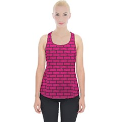 Brick1 Black Marble & Pink Leather Piece Up Tank Top