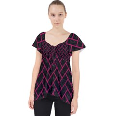 Brick2 Black Marble & Pink Leather (r) Lace Front Dolly Top