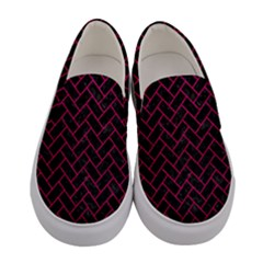 Brick2 Black Marble & Pink Leather (r) Women s Canvas Slip Ons