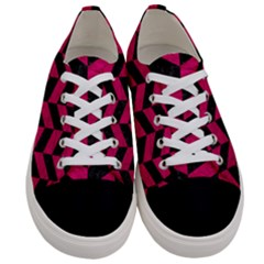 Chevron1 Black Marble & Pink Leather Women s Low Top Canvas Sneakers