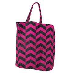 Chevron2 Black Marble & Pink Leather Giant Grocery Zipper Tote