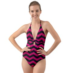 Chevron3 Black Marble & Pink Leather Halter Cut Out One Piece Swimsuit