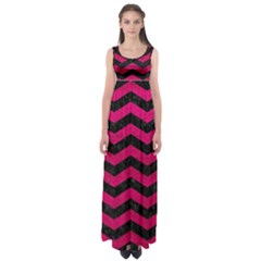 Chevron3 Black Marble & Pink Leather Empire Waist Maxi Dress
