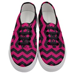 Chevron3 Black Marble & Pink Leather Women s Classic Low Top Sneakers