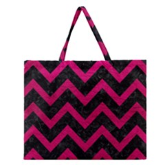 Chevron9 Black Marble & Pink Leather (r) Zipper Large Tote Bag