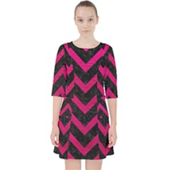Chevron9 Black Marble & Pink Leather (r) Pocket Dress