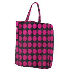 Circles1 Black Marble & Pink Leather (r) Giant Grocery Zipper Tote