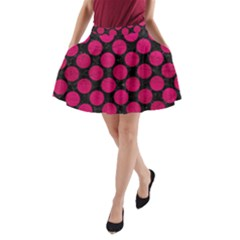 Circles2 Black Marble & Pink Leather (r) A Line Pocket Skirt
